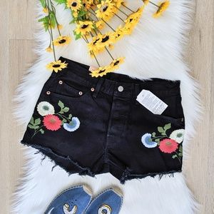Levi's 501 shorts with raw hem and embroidery